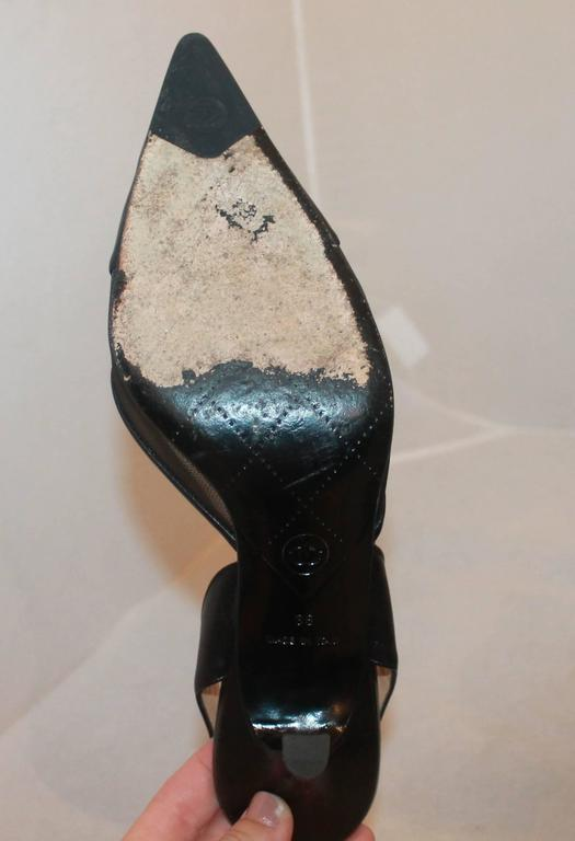 Chanel Black Leather and Mesh Slingback Heels with Mesh