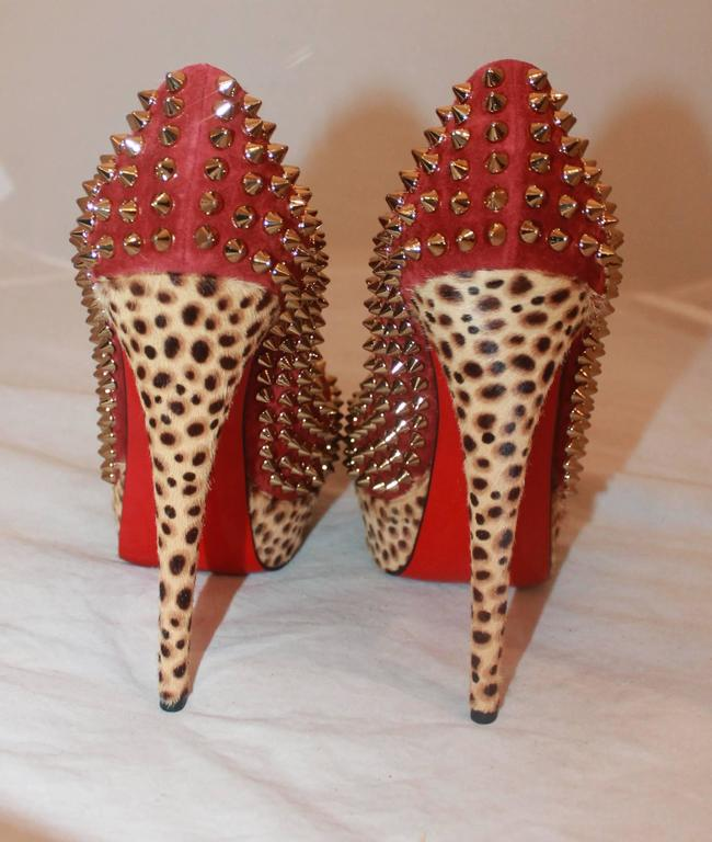 Louboutin Red Suede Spike & Leopard Print Pony Hair Platform Heels - 38 In Excellent Condition For Sale In Palm Beach, FL