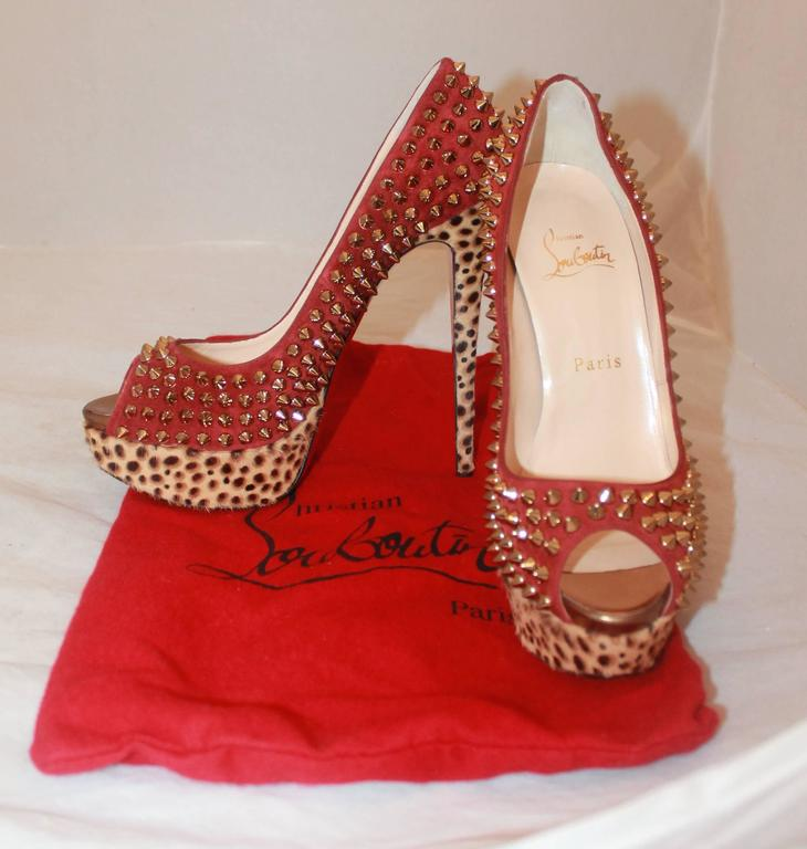 Louboutin Red Suede Spike & Leopard Print Pony Hair Platform Heels - 38 For Sale 1