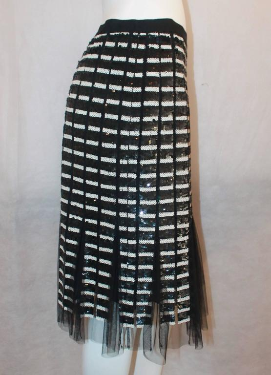 Oscar de la Renta Black & Ivory Sequin and Mesh Pleated Skirt - 10 3