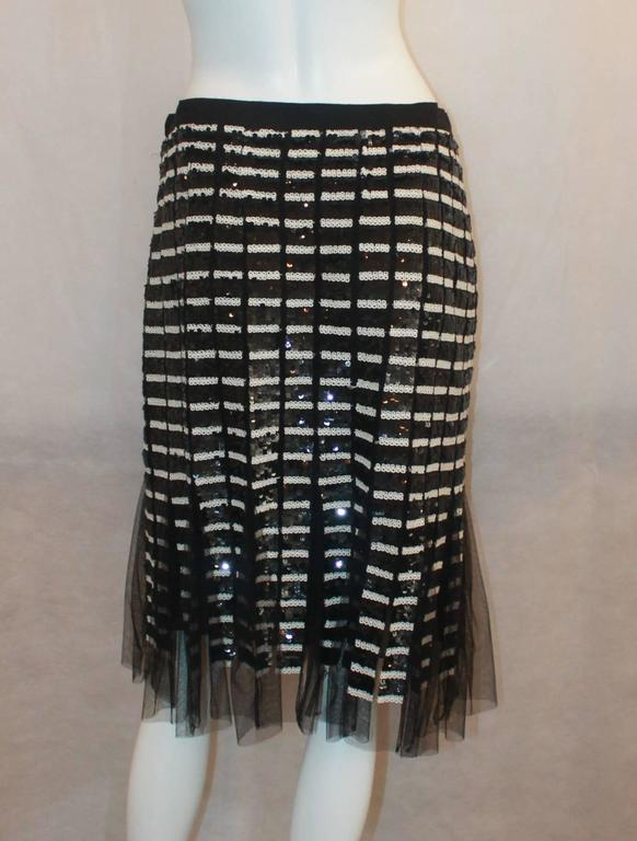 Oscar de la Renta Black & Ivory Sequin and Mesh Pleated Skirt - 10 4