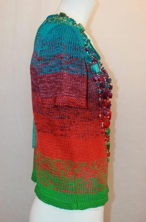 Black Oscar de la Renta Multi-color Silk Knit Beaded Top - S For Sale