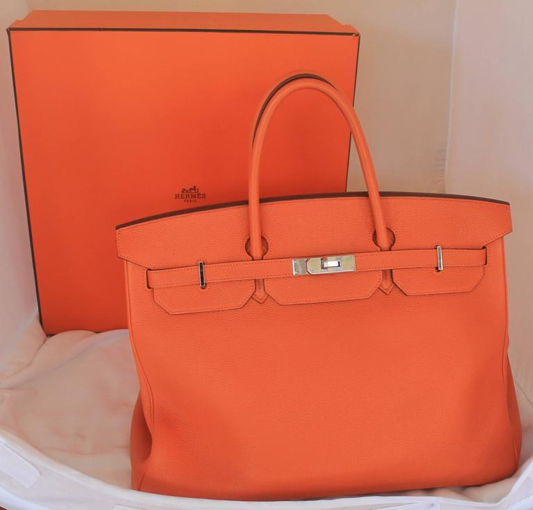 Women's or Men's Hermes Orange Clemence 40cm Birkin - SHW- Circa 2009 For Sale