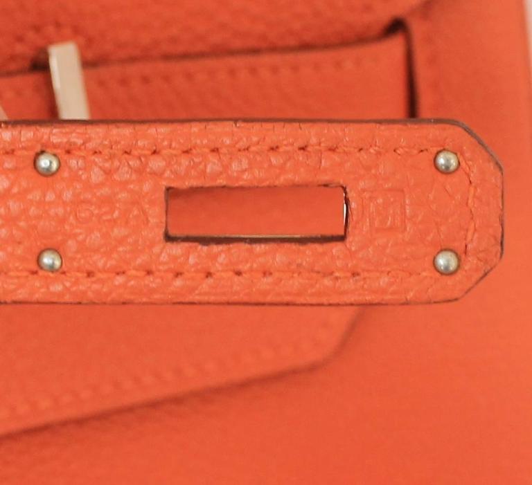 Hermes Orange Clemence 40cm Birkin - SHW- Circa 2009 For Sale 2