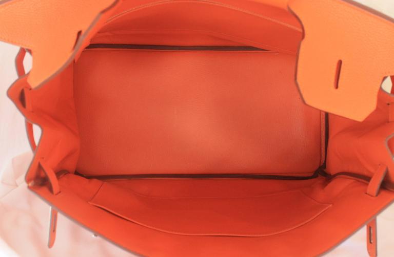 Hermes Orange Clemence 40cm Birkin - SHW- Circa 2009 For Sale 5