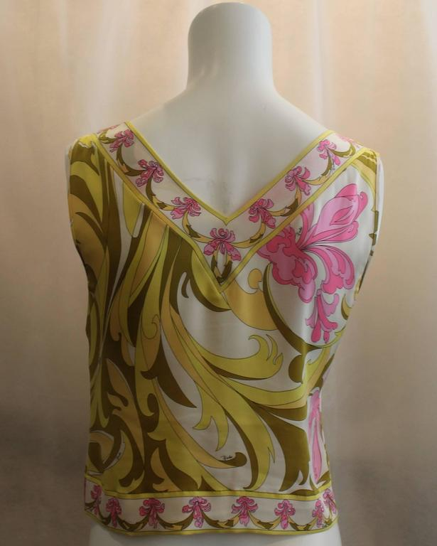 Brown Emilio Pucci Yellow, Green & Pink Printed Sleeveless Top - 4 - 1980's  For Sale