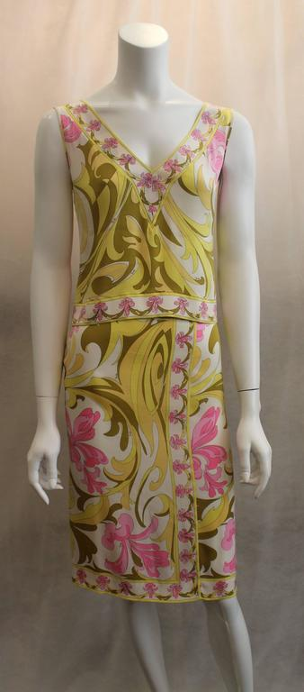 Women's Emilio Pucci Yellow, Green & Pink Printed Sleeveless Top - 4 - 1980's  For Sale