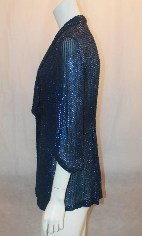 Black Diane Von Furstenberg Blue Sequin Loose Blouse - 6 For Sale