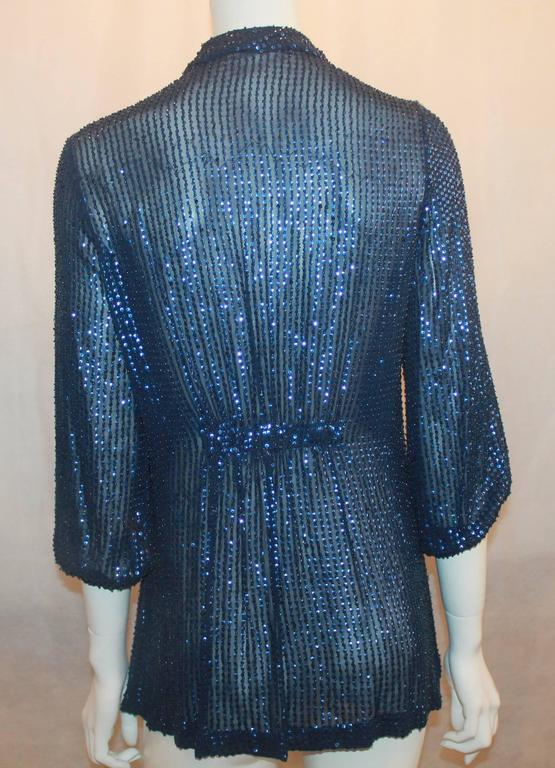 Diane Von Furstenberg Blue Sequin Loose Blouse - 6 In Good Condition For Sale In Palm Beach, FL