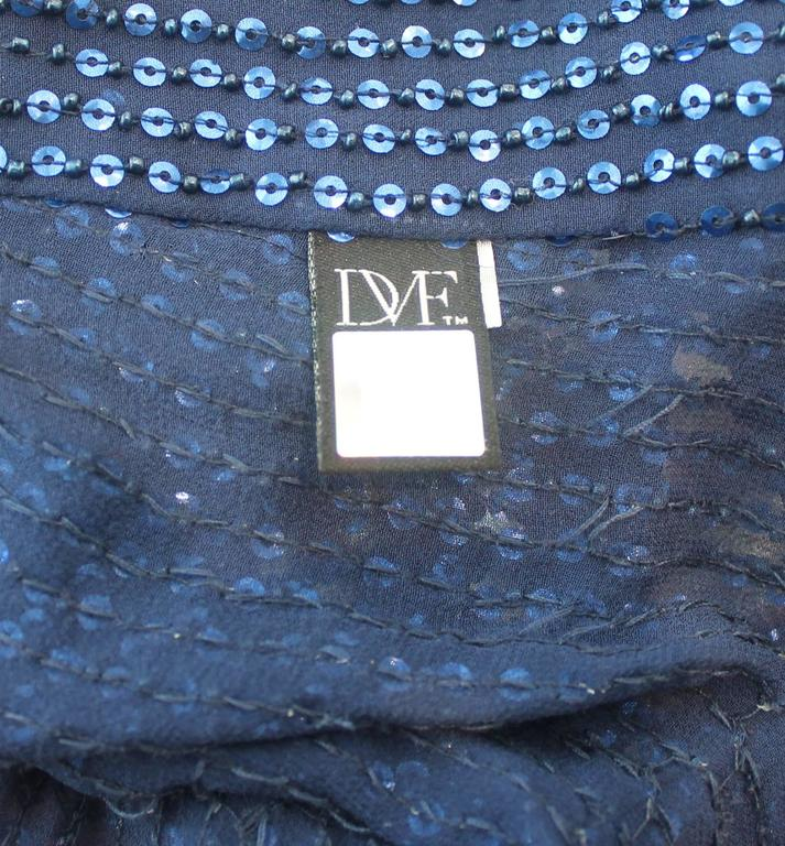 Women's Diane Von Furstenberg Blue Sequin Loose Blouse - 6 For Sale