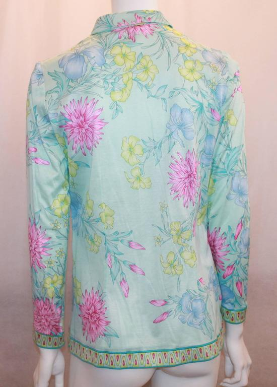 Averardo Bessi Aqua & Pastels Silk Cotton Shirt - 38 In Excellent Condition For Sale In Palm Beach, FL