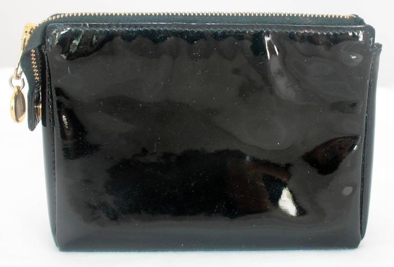 Chanel Black Patent Leather Makeup Case - GHW - Circa 1997 3