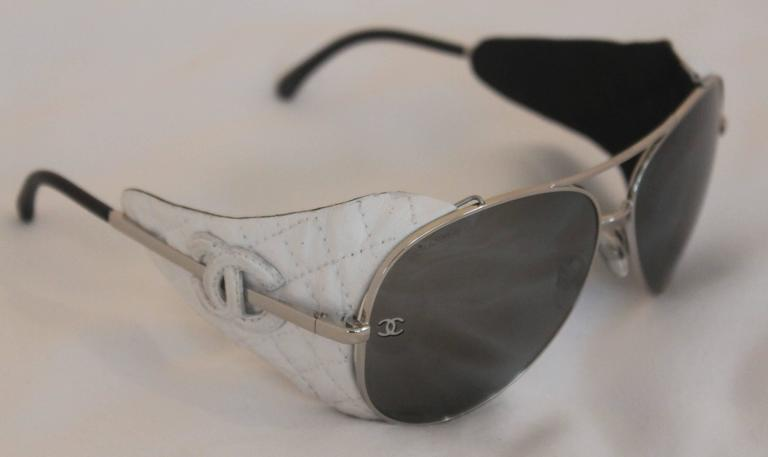 428c1fe669 Chanel Silver Aviator With White Quilted Leather Detachable Side