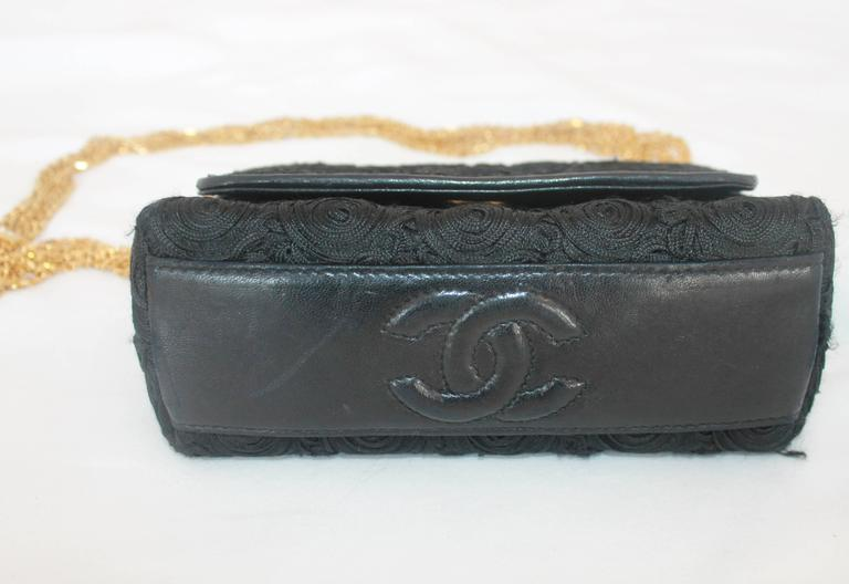 Chanel Black Lace Soutache and Leather Evening Bag - Circa Late 1980's 4