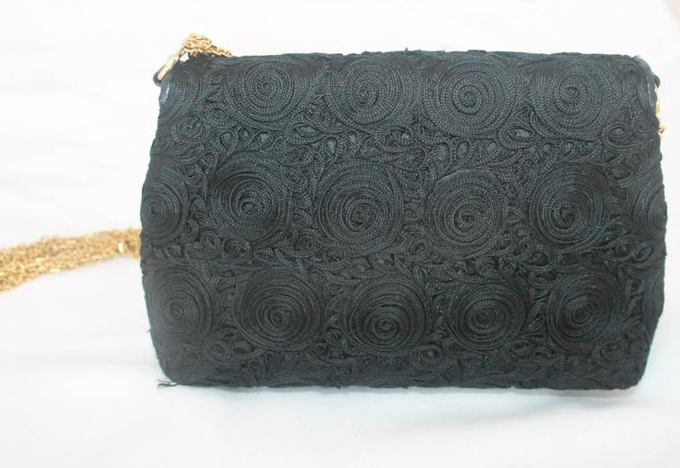 Chanel Black Lace Soutache and Leather Evening Bag - Circa Late 1980's For Sale 1
