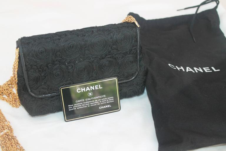 Chanel Black Lace Soutache and Leather Evening Bag - Circa Late 1980's For Sale 6