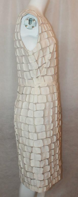 Gray Lela Rose Ivory Cotton Blend Sleeveless Patchwork Dress - 8 For Sale