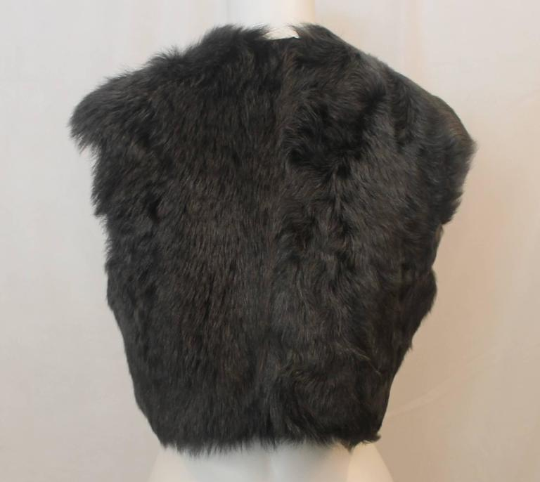 Ralph Lauren Grey Shearling Lamb Cropped Vest - M In Excellent Condition For Sale In Palm Beach, FL