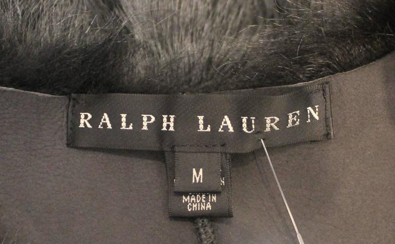 Ralph Lauren Grey Shearling Lamb Cropped Vest - M For Sale 1
