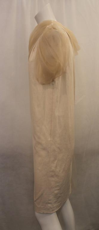 Gray Bottega Veneta Cream Linen One Shoulder Dress with Silk Detail - 40 For Sale