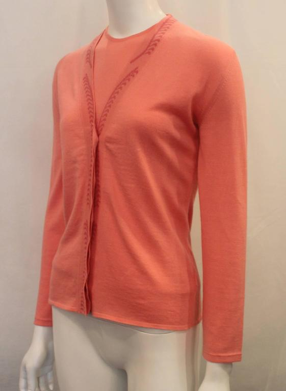 Emilio Pucci Coral Cashmere Blend Sweater Set Xs 1990s For Sale