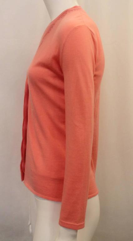 Orange Emilio Pucci Coral Cashmere Blend Sweater Set - XS - 1990's For Sale