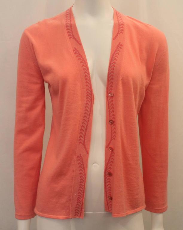 Emilio Pucci Coral Cashmere Blend Sweater Set - XS - 1990's For Sale 1