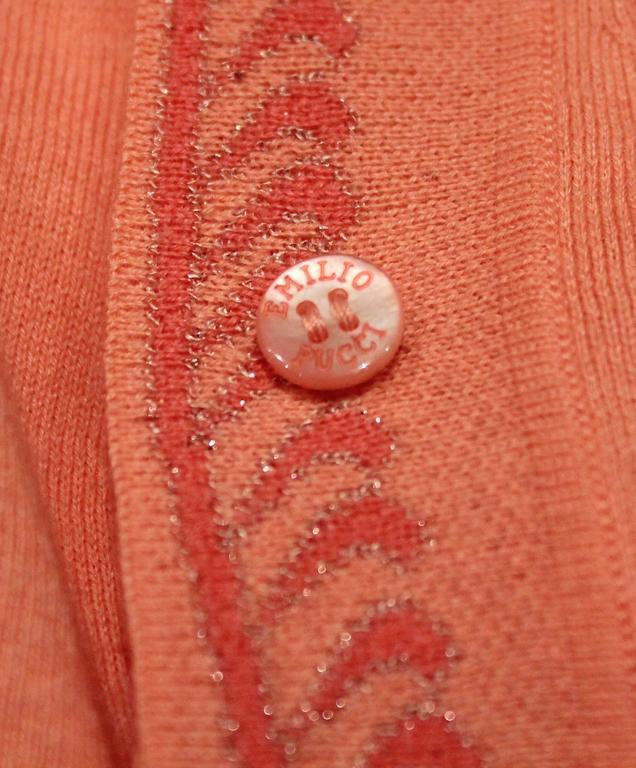 Emilio Pucci Coral Cashmere Blend Sweater Set - XS - 1990's For Sale 2