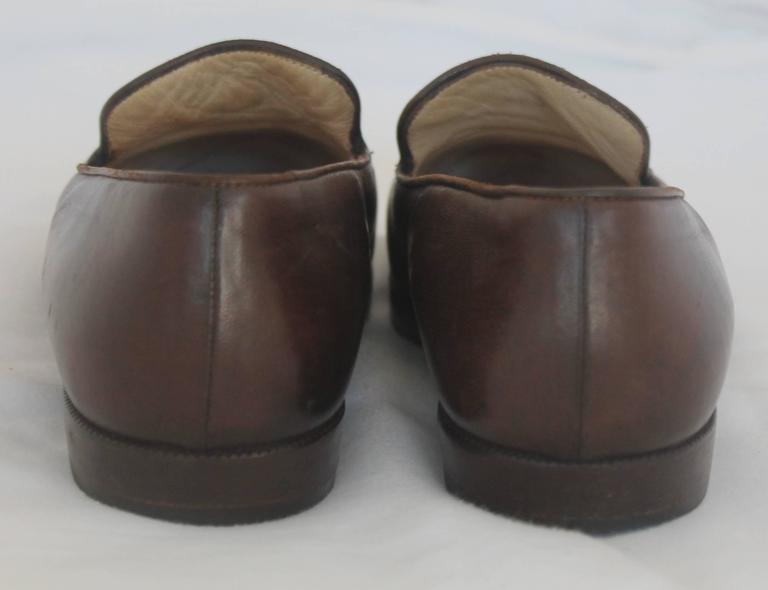 "Chanel Brown Leather Loafers with Stitched ""CC"" - 37 3"