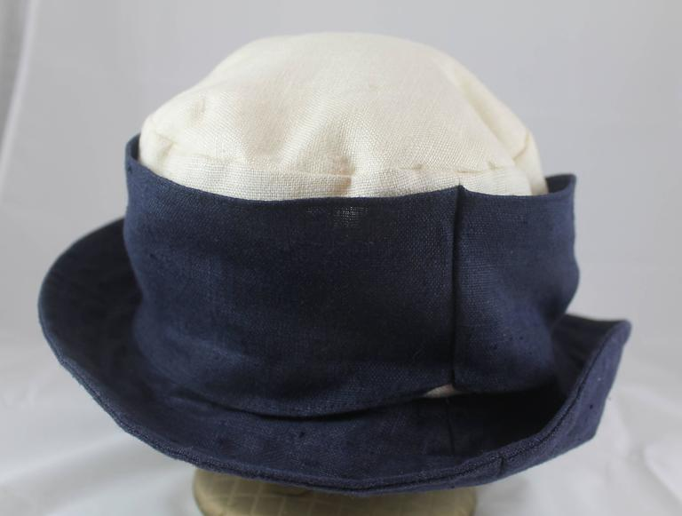 Black Deborah Rhodes Collection Ivory & Navy Canvas Hat with Front Tie  For Sale