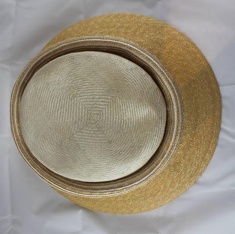Brown Suzanne Custom Millinery Tan Straw Hat with Thin Ivory Stripes For Sale
