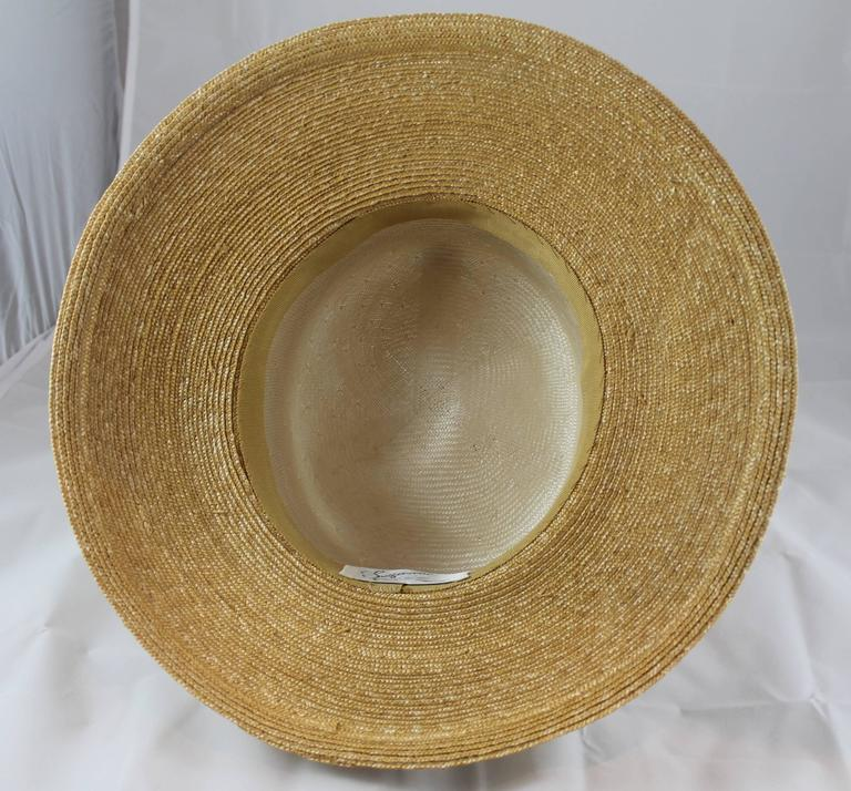 Suzanne Custom Millinery Tan Straw Hat with Thin Ivory Stripes In Excellent Condition For Sale In Palm Beach, FL