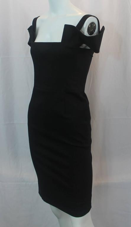 Fendi Black Cotton Blend Tapered Dress With Cutouts 40 For Sale At