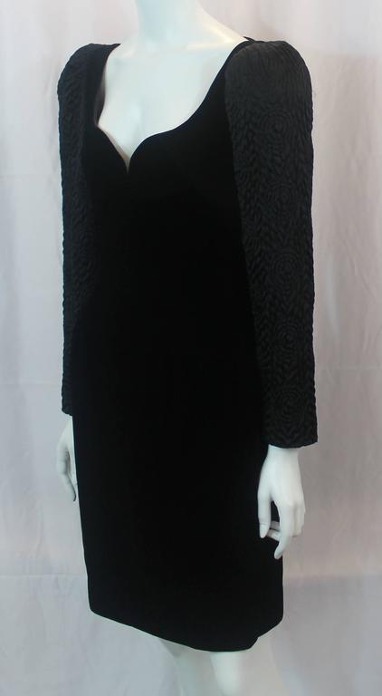 Adele Simpson Vintage Black Velvet and Silk Evening Dress - circa 1980s 2