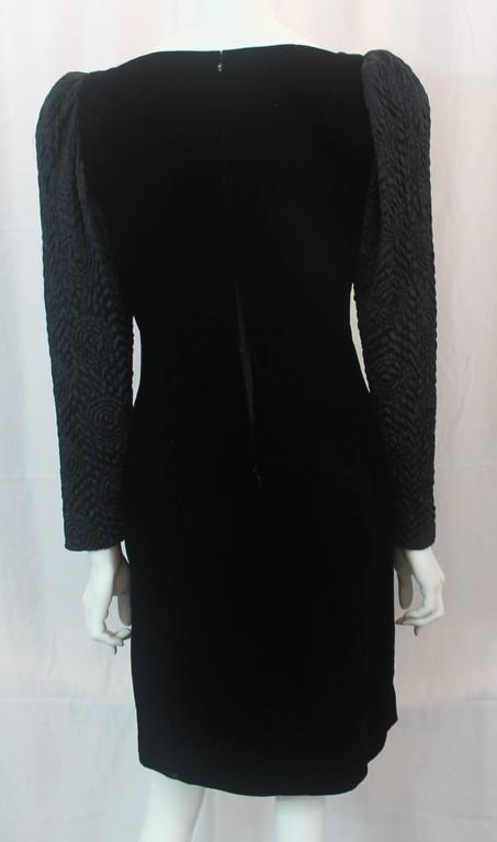 Adele Simpson Vintage Black Velvet and Silk Evening Dress - circa 1980s 4