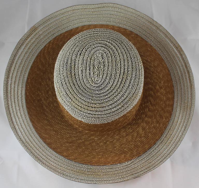 Suzanne Couture Millinery Ivory and Beige Straw Hat In Good Condition For Sale In Palm Beach, FL