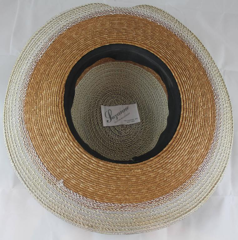 Women's Suzanne Couture Millinery Ivory and Beige Straw Hat For Sale