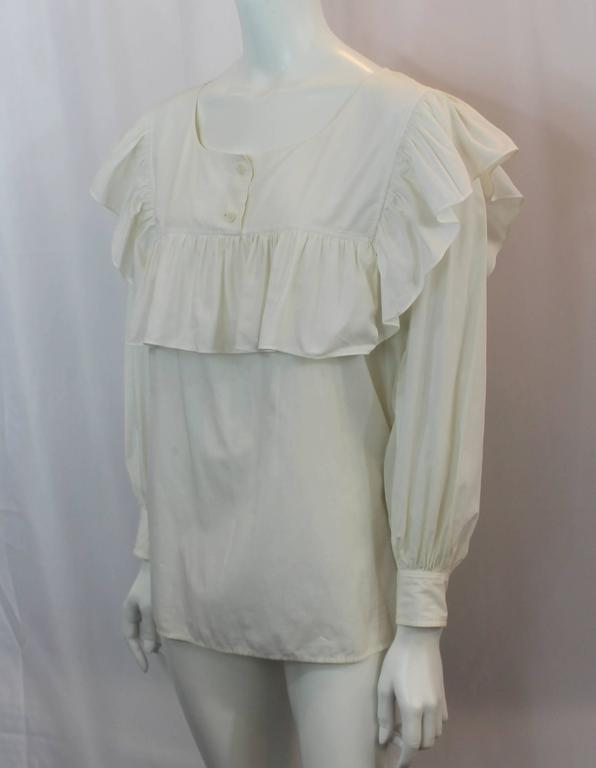 Yves Saint Laurent Off White Cotton Peasant Top - M - 1960's. This top is in very good vinatage condition with wear light for its age, with the exception of 2 small faint marks on the upper back shown in image 6. The top features a loose style, a