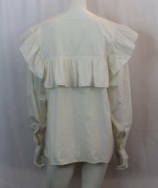 Yves Saint Laurent Off White Cotton Peasant Top - M - 1960's In Good Condition For Sale In Palm Beach, FL