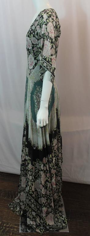 Gray Etro Multi-Color Printed Silk Chiffon Peasant Style Gown - 44 For Sale