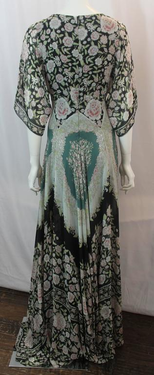 Etro Multi-Color Printed Silk Chiffon Peasant Style Gown - 44 In Excellent Condition For Sale In Palm Beach, FL