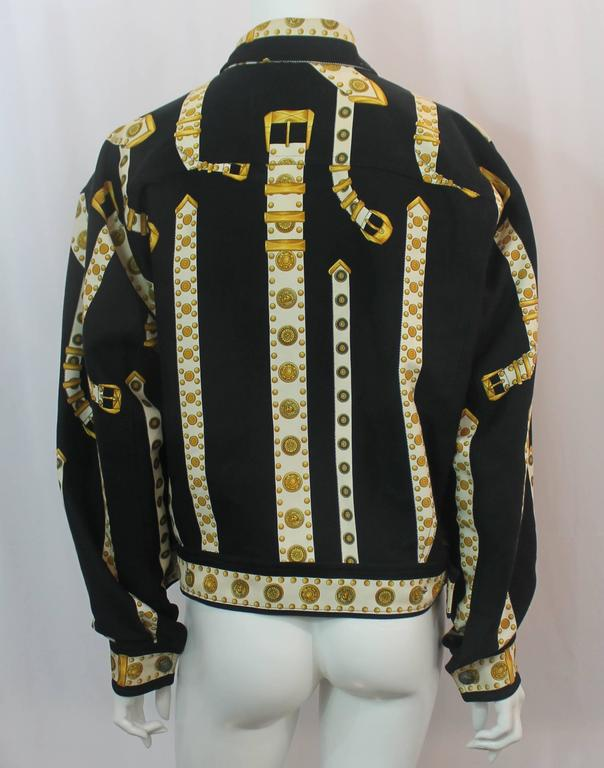 Women's or Men's Versace Vintage Black/White/Gold Cotton Blend Studded Belt Print Jacket - 48 For Sale