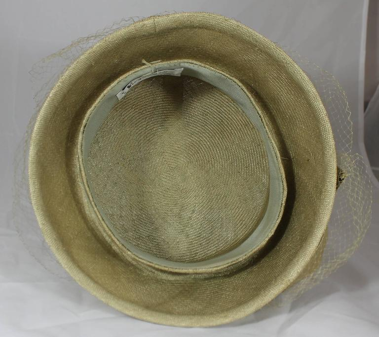 Suzanne Couture Millinery Light Olive Straw Hat with Ribbon, Flower, and Net In Excellent Condition For Sale In Palm Beach, FL