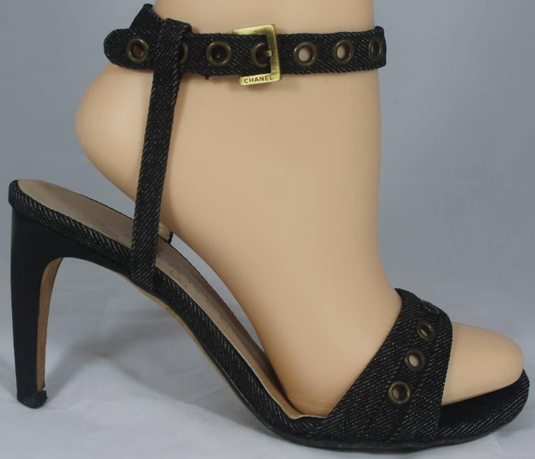 Chanel Denim Heels with Grommets and Ankle Strap - 36.5 2