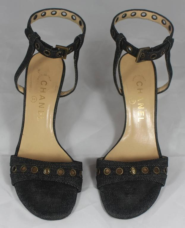 Chanel Denim Heels with Grommets and Ankle Strap - 36.5 3