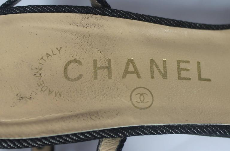 Chanel Denim Heels with Grommets and Ankle Strap - 36.5 6