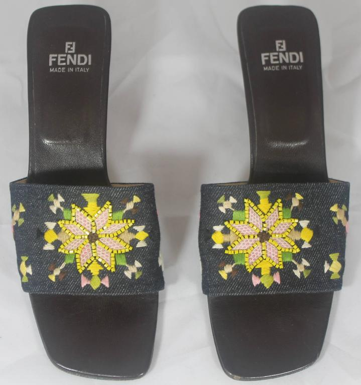 Black Fendi Denim Slides with Multi-Colored Embroidered and Beaded Design - 7M For Sale