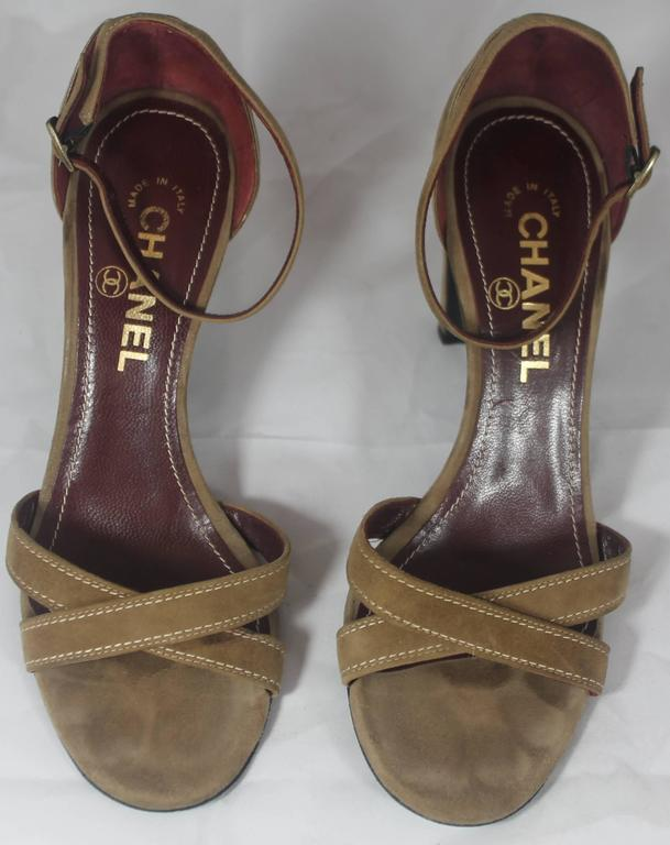 Black Chanel Tan Suede Strappy Heels with Ankle Strap - 36.5 For Sale