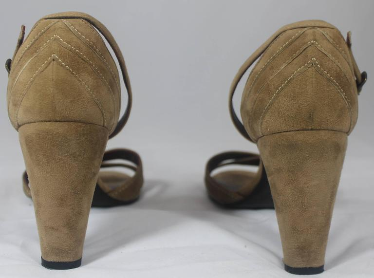 Chanel Tan Suede Strappy Heels with Ankle Strap - 36.5 In Good Condition For Sale In Palm Beach, FL