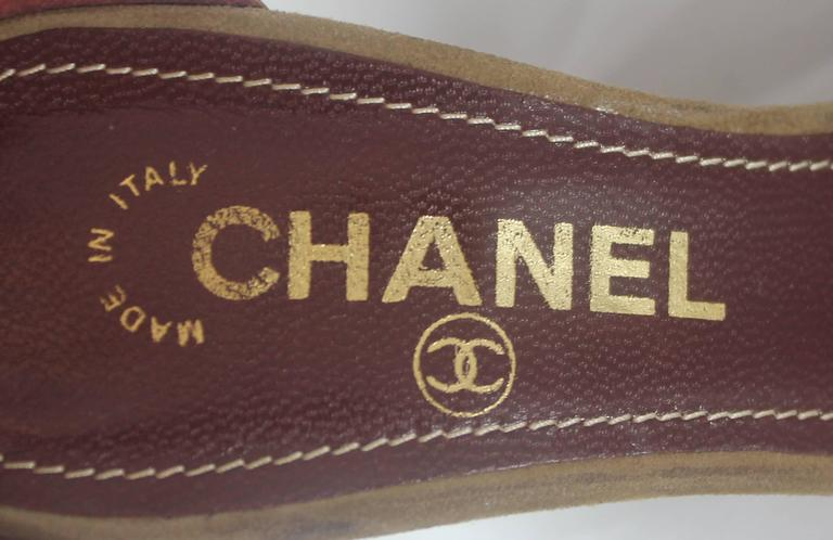 Chanel Tan Suede Strappy Heels with Ankle Strap - 36.5 7
